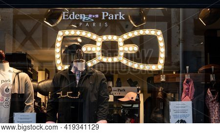 BAYONNE, FRANCE - CIRCA APRIL 2021: Eden Park icon in shop window. Eden Park is a French fashion brand inspired by rugby.