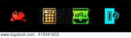 Set Broken Piggy Bank, Calculator, Treasure Chest And Inserting Coin Icon. Vector
