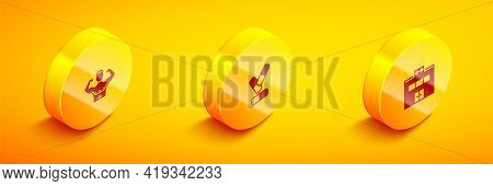 Set Isometric Bodybuilder Muscle, Vitamin Pill And Gym Building Icon. Vector