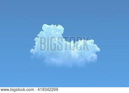 One Cumulus On Blue Sky Isolated. Cgi Nature 3d Illustration