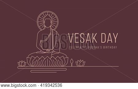 Vesak Day Banner With Abstract Modern Line Drawing The Lord Buddha Meditated On Lotus Vector Design