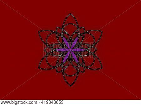 Flower Of Life Symbol Sacred Geometry. Gold Luxury Logo Icon Round Geometric Mystic Purple Lotus Man