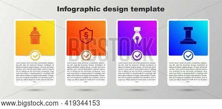 Set Judge, Justice Law In Shield, Fountain Pen Nib And Stamp. Business Infographic Template. Vector