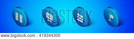 Set Isometric Railway, Railroad Track, End Of Railway Tracks, Road Traffic Signpost And Ticket Offic