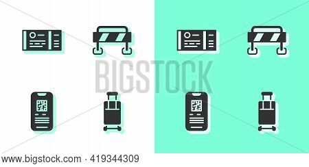 Set Suitcase, Train Ticket, E-ticket Train And Road Barrier Icon. Vector