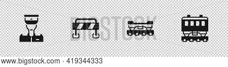 Set Train Conductor, Road Barrier, Cargo Train Wagon And Passenger Cars Icon. Vector