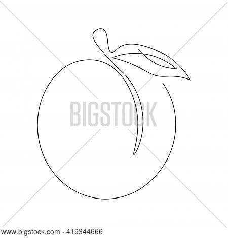 Continuous Single Line Drawing Of A Peach. Drawing A Whole Fruit With A Single Line. Abstract Style.