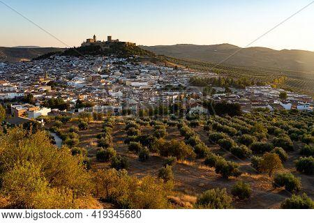 Alcala La Real, Spain - September 05, 2020: View Of The Village Of Alcalá La Real And The La Mota Fo