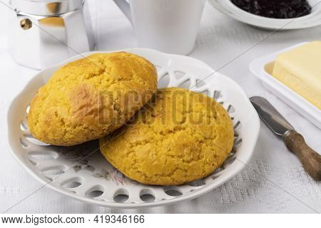 Broa, Typical Brazilian Corn Flour Bread With Butter, Jam And Coffee.
