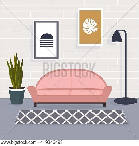 Living Room Interior With Comfortable Sofa, Lamp And Plant. Cartoon Vector Illustration Of Modern Lo