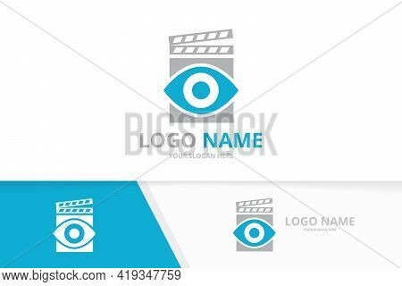 Vector Eye And Clapperboard Logo Combination. Unique Film Logotype Design Template.