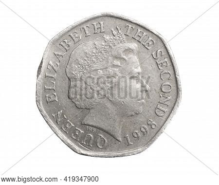 England Twenty Pence Coin On A White Isolated Background