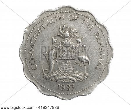 Bahamas Ten Cents Coin On White Isolated Background