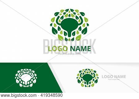Eco Bladder And Leaves Logo. Urinary Tract Logotype Design Template.
