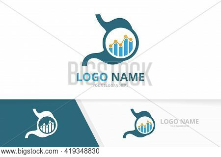 Vector Stomach And Graph Logo Combination. Unique Gastrointestinal Tract Logotype Design Template.