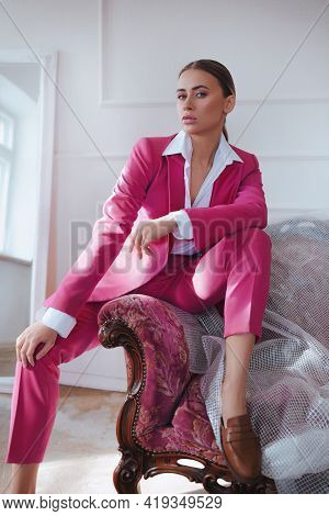 Girl In A Pink Suit. Business Style.trend Of 2021. Natural Female Beauty.