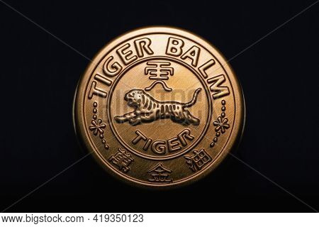 Prague,czech Republic - 9 March, 2021: Tiger Balm, Natural Traditional Ointment. Tiger Balm Is The W
