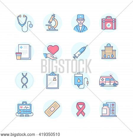 Medicine And Healthcare - Line Design Style Icons Set