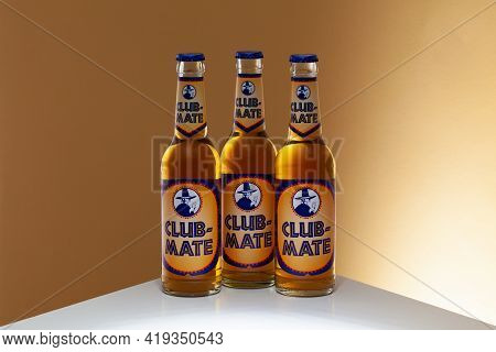 Prague,czech Republic -  26 March, 2021: Club-mate Bottles On The Glass Table. It Is A Caffeinated C