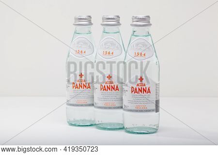 Prague,czech Republic -  12 April, 2021: Three Glasses Bottle Of Acqua Panna Toscana Mineral Still H
