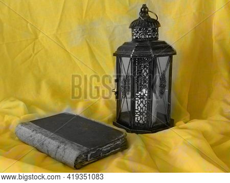 The Muslim Feast Of The Holy Month Of Ramadan Kareem. Beautiful Gold Background With A Shining Lante