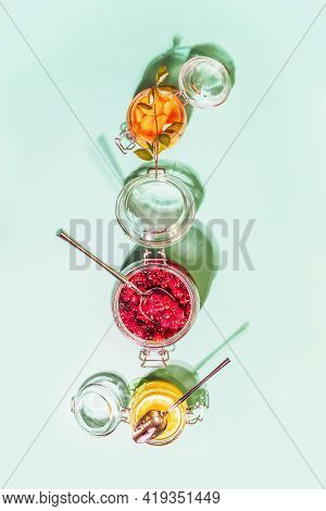 Fermentation And Storage Of Fruits, Vegetables And Berries. Food Composition With Glass Jars With Fe