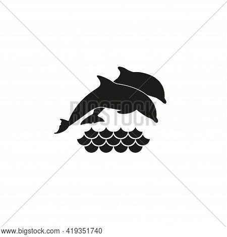 Dolphin Icon. A Pair Of Dolphins Jump Out Of The Water. Simple Vector Illustration On A White Backgr