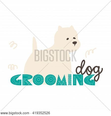 Logo For A Pet Grooming Studio. Flat Vector Illustration For Dog Grooming Salon.