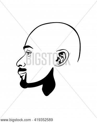 Black African Afro American Male Portrait Face Vector Silhouette Of A Bald Hairstyle Without Curly H