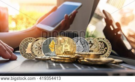 Bitcoin Btc Cryptocurrency Coin With Altcoin Digital Crypto Currency Tokens, Etc Ethereum, Ada Carda