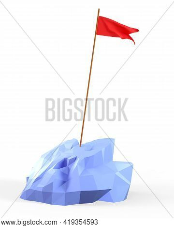 3d Illustration Of A Red Flag On The Top Mountain. Cute Cartoon  Reaching Goals Concept. Objective A