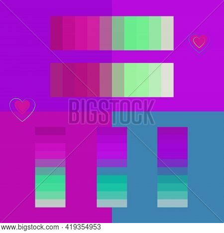 Bright Colorful Neon Color Palettes For Summer Vector Illustration Set. Vibrant Purple And  Turquois