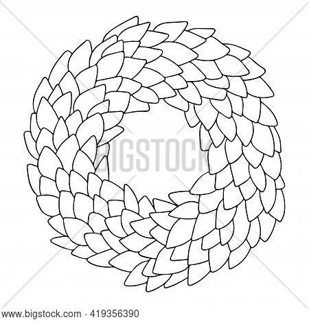 Floral Wreath Antistress Coloring Page Stock Vector Illustration. Laurel Wreath Circle Hand-drawn Li