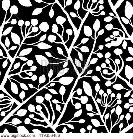 Blossom Tree Branches Black And White Floral Seamless Pattern Vector. Hand-drawn White Branches With