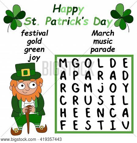 Happy St Patrick's Day Word Search Puzzle For Kids Stock Vector Illustration. Cartoon Hand-drawn Col