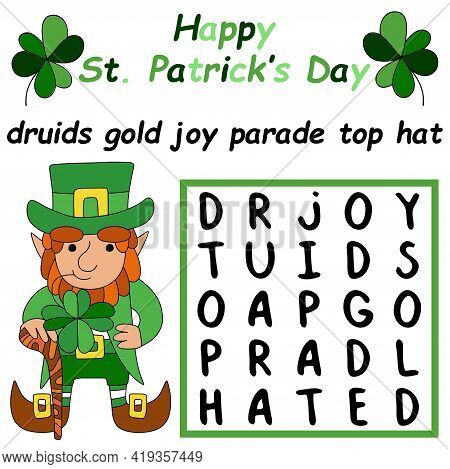 Happy St Patrick's Day Word Search Puzzle Stock Vector Illustration. Find And Mark All Hidden Words