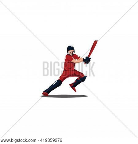 Cricket Athlete Are Jumping To Hit The Ball On Cricket Game - Sport Man Cartoon Are Jumping To Hit T