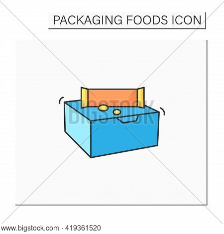 Snack Bars Color Icon. Paper Box With Snacks.portion Control, Protection, Tampering Resistance From