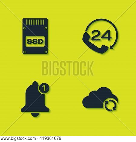 Set Ssd Card, Cloud Sync Refresh, Bell And Telephone 24 Hours Support Icon. Vector