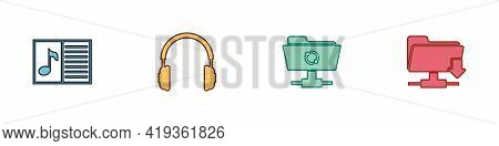 Set Music Book With Note, Headphones, Ftp Sync Refresh And Folder Download Icon. Vector