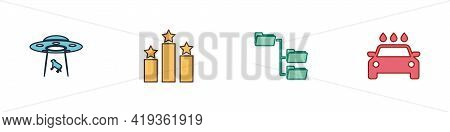 Set Ufo Abducts Cow, Ranking Star, Folder Tree And Car Wash Icon. Vector