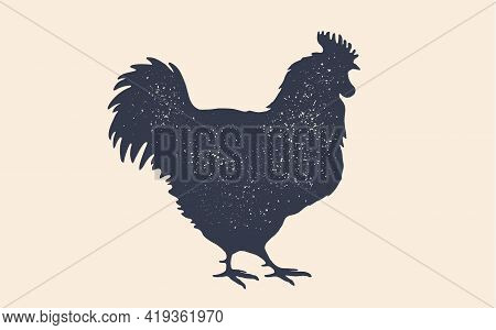 Rooster, Chicken, Hen, Poultry, Silhouette. Vintage Logo, Retro Print, Poster