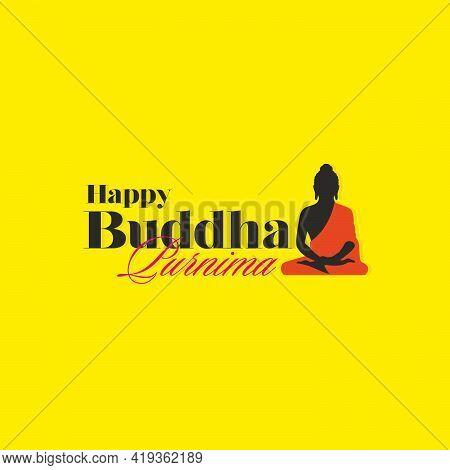 Happy Buddha Purnima Typography With Buddha Illustration - Banner