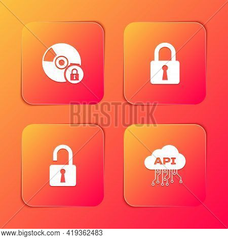 Set Cd Or Dvd Disk With Lock, Lock, Open Padlock And Cloud Api Interface Icon. Vector