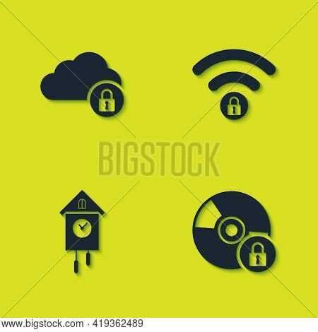 Set Cloud Computing Lock, Cd Or Dvd Disk With, Retro Wall Watch And Wifi Locked Icon. Vector