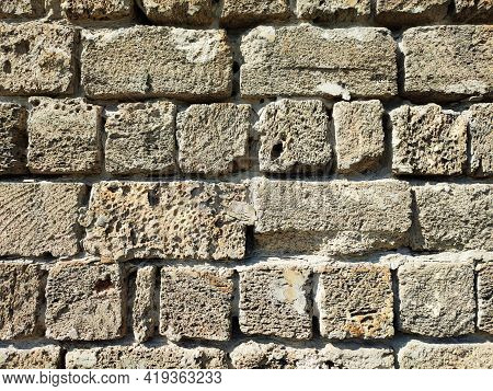 Old Brick Wall Texture, Weathered Stonewall Background With Copy Space