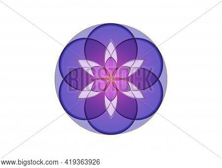 Flower Of Life Symbol Sacred Geometry. Gold Geometric Mystic Mandala Of Alchemy Esoteric Colorful Se