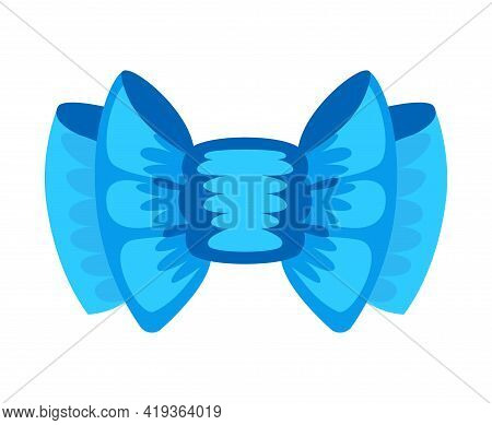 Gift Bow Colorful Flat Vector Illustration. Blue Knot For Present Element Template. Decoration For G