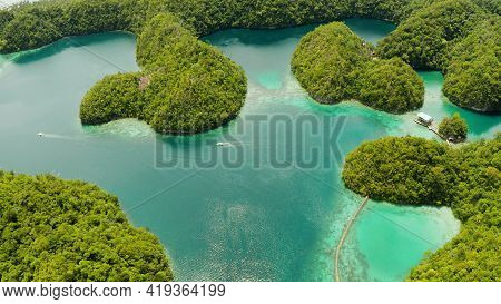 Beautiful Tropical Lagoon With Blue Water In Bay Surrounded By Islands With Forest. Sugba Lagoon, Si