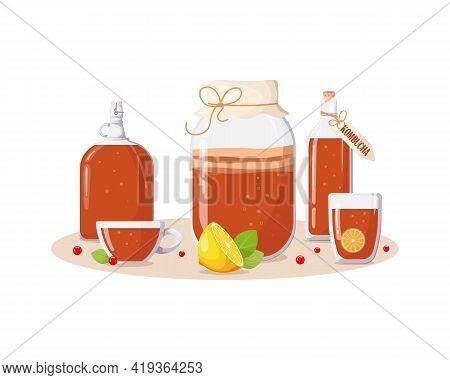 Glass Jars, Bottles, Cups With Kombucha Drink, Lemon, Mint Leaves, Berries. Summer Refreshing Drink